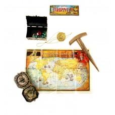 Набор пирата 5 предметов: компас, молоток, карта, медальон, сундук, пластик Размер упаковки: 13х25см №4787.122