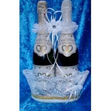 """Корзина под шампанское """"Ладья"""" Цвет: белый №4797.220 (отделка в ассортименте)"""