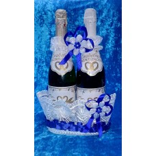 """Корзина под шампанское """"Ладья"""" Цвет: белый с синим №4798.220 (отделка в ассортименте)"""