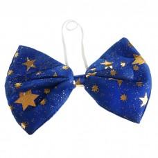 Бант гигант синий со звездами, текстиль, 15х26см №4633.46