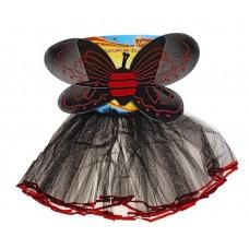 """Карнавальный костюм """"Бабочка"""", 2 предмета: юбка, крылья, цвет черно-красный, 2-4 года №4634.230"""