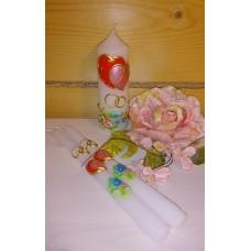 Комплект Свеча Сердца, 5х14,0 см и Свечи тонкие 2,3х25см - 2штуки №4449.275