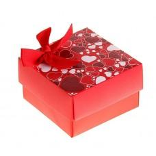 Коробка сборная сердечки бантик 6,5х6,5х4 см №4494.160