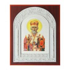 """Икона """"Николай Чудотворец"""" серебристая на подставке, 0,5 х 13,5 х 16,5 см №4512.75"""