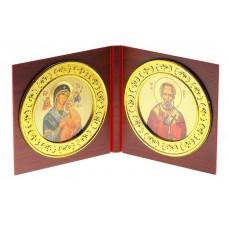 """Икона складная """"Божья Матерь, Николай Чудотворец"""", 12,5 × 13 × 1,2 см №4515.66"""