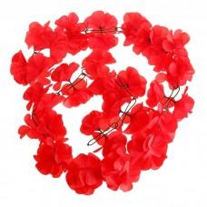 """Гирлянда """"Гибискус"""" красная, цветок искусственный, длина 2 метра №4519.130"""