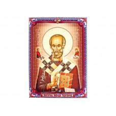 """Икона холст """"Святитель Николай Чудотворец"""" на подвесе, 1,8 × 15 × 20 см №4536.66"""