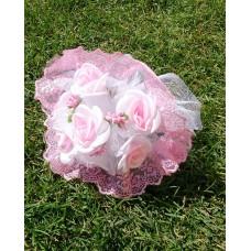Букет невесты Бело-розовый (ткань)  №4264.190