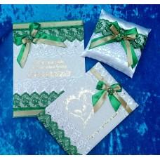 Комплект: Папка для свидетельства о браке А4, книга пожеланий А5, подушечка для колец  14,5х16см  SvetikFantasy, Цвет: белый с зеленым №3399.1250