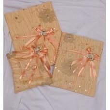 Комплект: Папка для свидетельства о браке А4, книга пожеланий А5, подушечка для колец 14см  SvetikFantasy, ткань Цвет: как на картинке №3735.1387