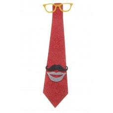 """Галстук """"Очки, усы, губы"""", цвет красный, 13 х 43см  №3802.80"""