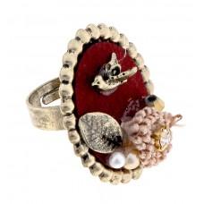 """Кольцо """"Ретро птичка"""", цвет красный, безразмерное, 0,8 × 2,5 × 3 см №3807.26"""