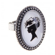 "Кольцо из стекла с рисунком ""Дама в шляпе ретро"", безразмерное, 0,3 × 2,5 × 3 см  №3808.63"