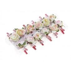 Декор на прищепке цветы (набор 4 шт) Нежная роза №3722.86
