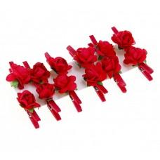 Декор на прищепке цветы (набор 12 шт) Роза красная №3723.80
