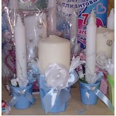 Комплект Свечей 3 штуки SvetikFantasy № Размер:1шт - 14х6,5см; 2шт - 19х4см Цвет: голубой №3770.1000