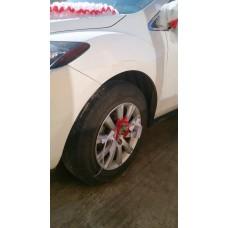 Украшения на 4 колеса машины, 12 лент, цвет: бело/красные №3454_4.240