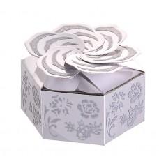 Коробка сборная роза 7х7х4 см серебро №3464.9