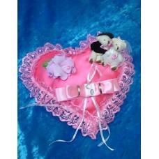 Подушечка для колец Сердце-Мишки розовая 22см SvetikFantasy отделка может отличаться №3182.447