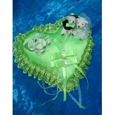 Подушечка для колец Сердце-Мишки зеленая 22см SvetikFantasy отделка может отличаться №3183.447