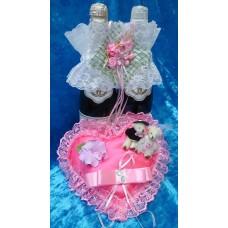 Набор Украшение на шампанское и Подушечка для колец Сердце-Мишки розовая 22см SvetikFantasy отделка может отличаться №3184.740