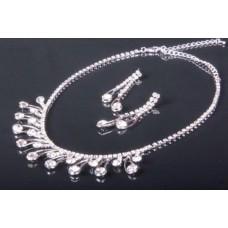 Комплект бижутерии  (колье, серьги) цвет: серебро №2997.254