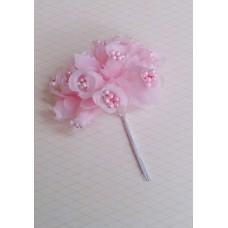 Букетик розовый с бусинами из 12 розочек   №3155.45