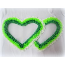 Два сердца для украшения машины шелк цвет: белый, салатовым, зеленый №2812.74