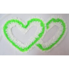 Два сердца для украшения квартиры, зала, стен, штор шелк цвет: белый с зеленым №2813.74