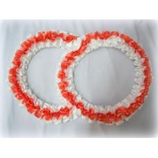 Два кольца для украшения машины атлас цвет: белый с персиковым №2821.101