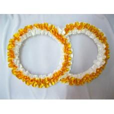 Два кольца для украшения машины атлас цвет: золото с белым №2825.101
