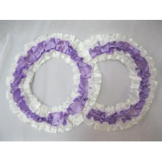 Два кольца для украшения квартиры, зала, стен, штор атлас цвет: белый с сиреневым №2828.101