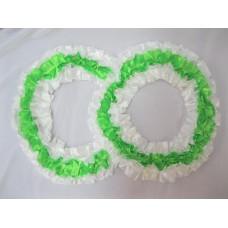 Два кольца для украшения машины шелк; цвет: белый с зеленым №2830.92