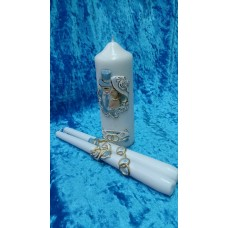 Комплект Свеча Дуэт, 6х15,5 см и Свечи тонкие 2,3х25см - 2штуки, белая, время горения 40 ч и 8ч  №2929.326