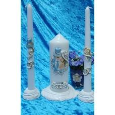 Комплект Свеча Дуэт, 6х15,5 см, свечи тонкие 2,3х25см - 2штуки, подсвечники 3 штуки, белая, время горения 40 ч и 8ч  №2929.482