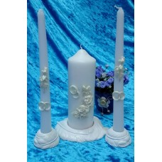 Комплект Свеча Маркиза, 6х15,5 см, свечи тонкие 2,3х25см - 2штуки, подсвечники 3 штуки, белые, цветы айвори, время горения 40 ч и 8ч  №2932.462