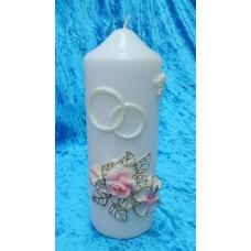 """Свеча """"Свадебные цветы"""", 7х18,5 см, цвет: белый с розовыми цветами, время горения 85 ч №2950.351"""