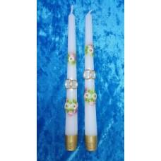 """Набор свечей """"Карета"""", 2 штуки, 2,3 х 25 см, цвет:белый с золотом, время горения 8 ч №2952.98"""