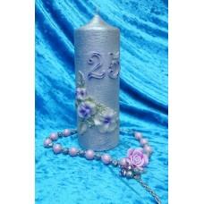 """Свеча """"Серебро 25"""", 7 х 18,5 см, цвет: серебро с сиреневым №2955.390"""