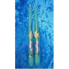 """Набор свечей """"Аквариум"""", 2 штуки, 2,3 х 25 см, цвет:бирюза, время горения 8 ч №2957.98"""