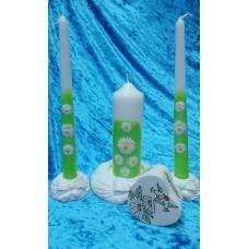 Комплект Ромашки Свеча 5 х 14,0 см, свечи тонкие 2,3 х 25см - 2 штуки, подсвечники 3 штуки №2958.404