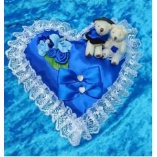Подушечка для колец Сердце-Мишки синяя 22см SvetikFantasy отделка может отличаться №2763.447