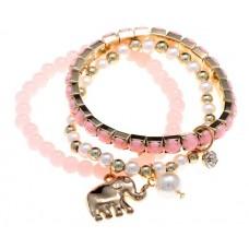 """Браслет """"Индия"""" слоник, цвет розовый 0,5х2х9 см №2246.80"""