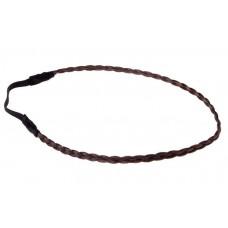 Повязка для волос косичка 25х0,8см тонкая цвет: каштан  №2265.17