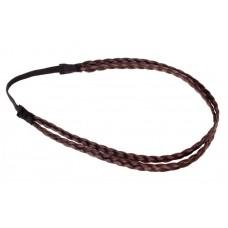 Повязка для волос косичка 25х0,8см двойная цвет: каштан  №2267.35