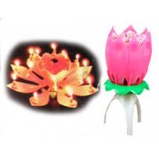 Свеча-цветок для торта, музыкальная 5х12см №2364.80