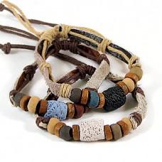 Браслет из кожи, плетёный, с украшением из камня, выберите цвет обмотки браслета, 1 штука №2454.21