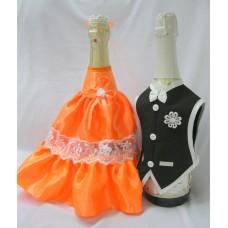 """Костюм на шампанское """"Жених и Невеста"""" оранжевый №5465.150"""
