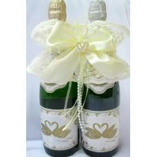 """Украшение на шампанское """"Два сердца"""" SvetikFantasy Цвет: айвори №5467.400"""