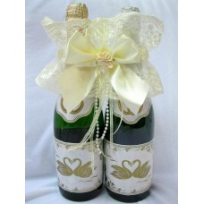 """Украшение на шампанское """"Цветок"""" SvetikFantasy Цвет: айвори №5469.400"""